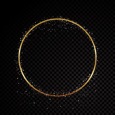 Cadre doré scintillant de cercle. Isolé sur fond transparent noir. Illustration vectorielle