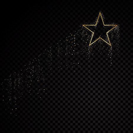 Star sparkle golden frame. Isolated on black transparent background. Vector illustration Ilustración de vector
