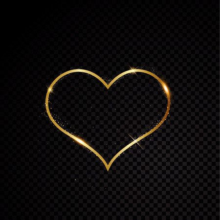 Valentine heart sparkle golden frame glitter effects. Isolated on black transparent background. Vector illustration banner