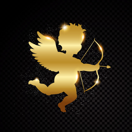 Golden Valentine cupid silhouette isolated on black transparent background. Vector illustration