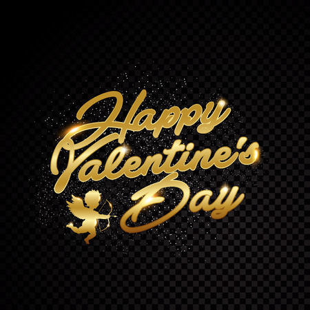 Valentine day letter golden frame glitter effects. Isolated on black transparent background. Vector illustration banner