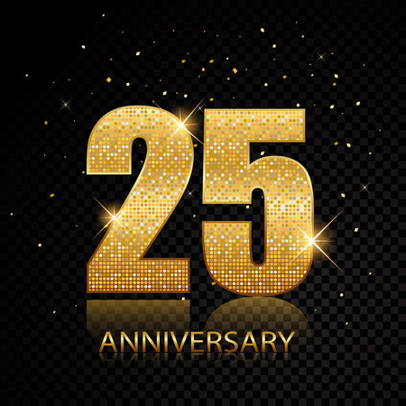25th anniversary golden numbers isolated on black transparent background. Vector illustration