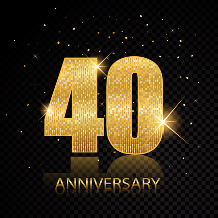 40th anniversary golden numbers isolated on black transparent background. Vector illustration