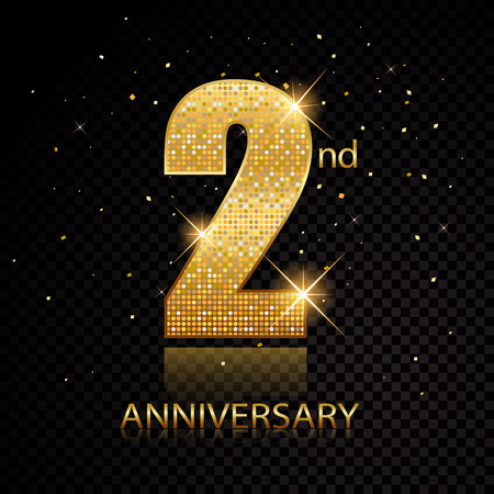Second anniversary golden numbers isolated on black transparent background. Vector illustration Ilustração