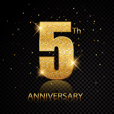 Fifth anniversary golden numbers isolated on black transparent background. Vector illustration Ilustração