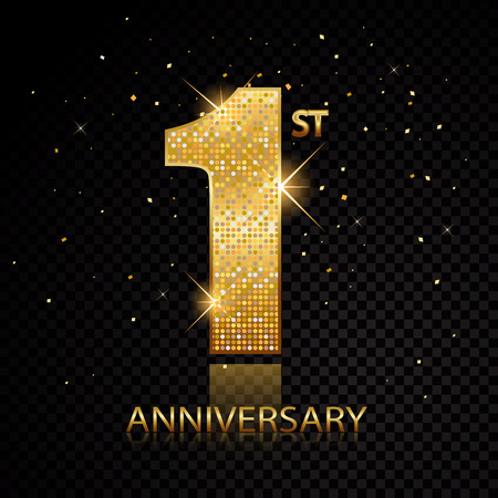 First anniversary golden numbers isolated on black transparent background. Vector illustration