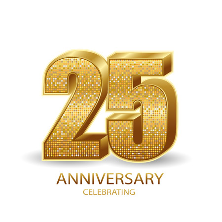 25 anniversary golden numbers isolated on black transparent background. Vector illustration