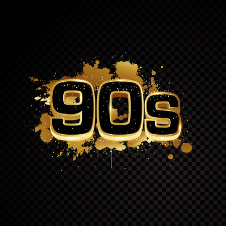 Golden 90s abstract design isolated on black background Stock Illustratie