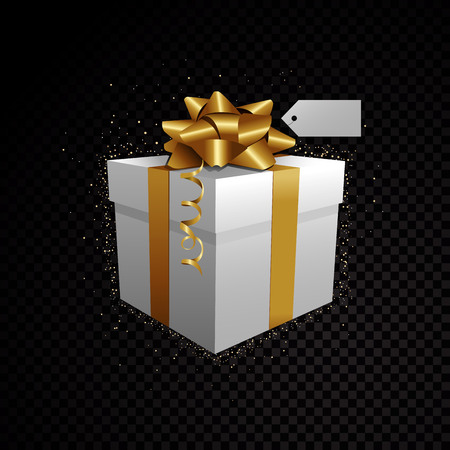 Golden white vector 3D gift box isolated on black background