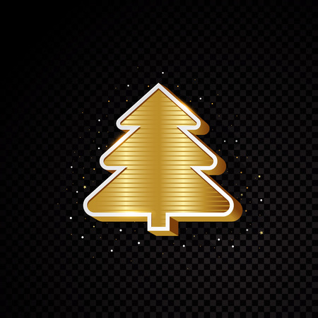 Golden Christmas tree silhouette design isolated on black background