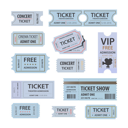 vector illustration set of different movie theater ticket