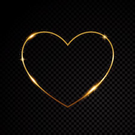 Oro brillante polvo de estrellas día de San Valentín corazón partículas brillantes sobre fondo negro Ilustración de vector
