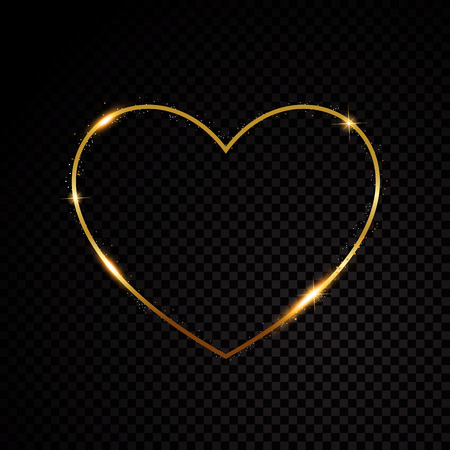 Particules étincelantes de coeur de valentines de poussière d'étoile scintillante d'or sur le fond noir Vecteurs