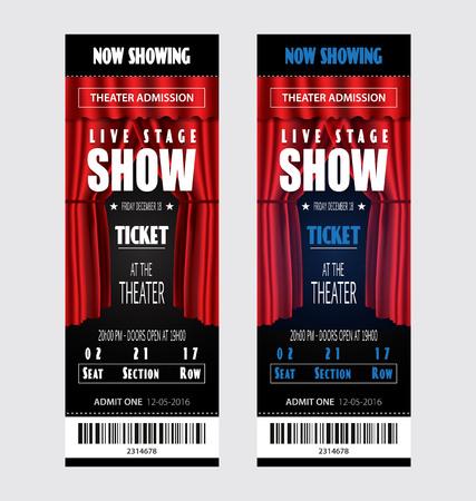 Vector realistic ticket show theater design Illusztráció