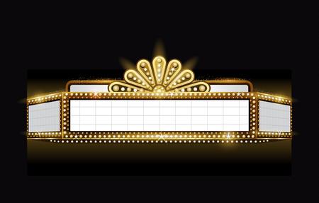 Brillantemente teatro incandescente insegna al neon cinema retrò Vettoriali