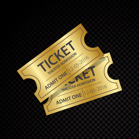 Vector golden vector tickets and coupons templates Ilustração