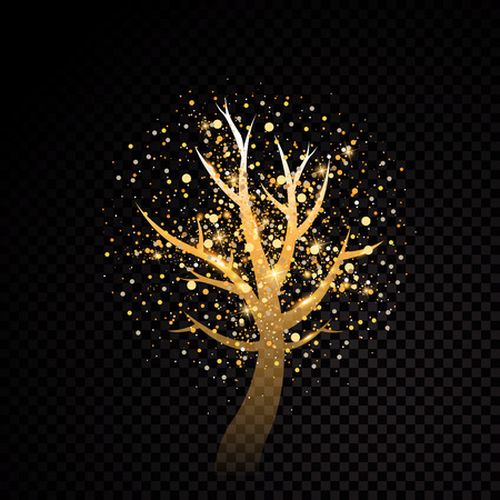 Abstract golden tree design sparkle