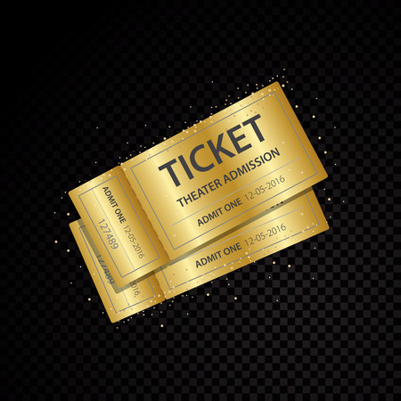 Vector Set of golden vector tickets and coupons templates