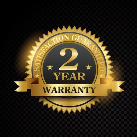 Vector one year warranty satisfaction guarantee golden labels on black background