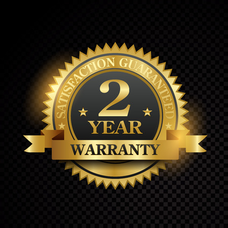 Vector one year warranty satisfaction guarantee golden labels on black background