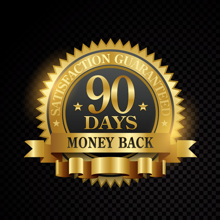 Vector 90 days satisfaction guarantee golden labels on black background