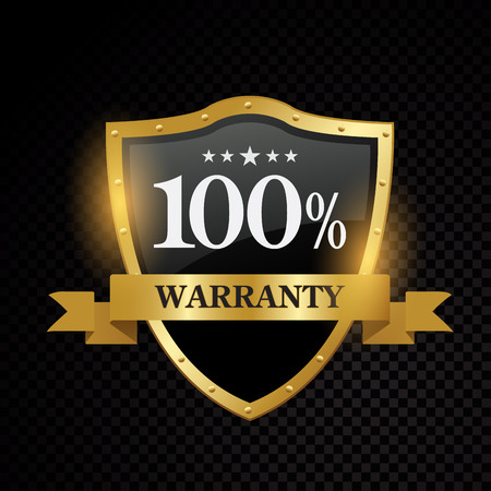 Vector 100 percent warranty satisfaction guaranteed golden labels on black background design
