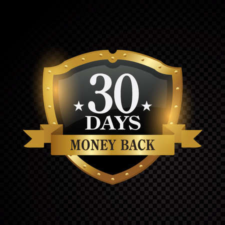 Vector 30 days satisfaction guarantee golden labels on black background