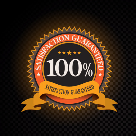 Vector 60 days satisfaction guarantee golden labels on black background