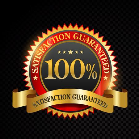 Vector 100% satisfacción garantizada etiquetas doradas sobre fondo negro