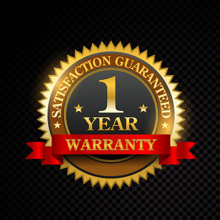 Vector 1 year satisfaction guarantee golden labels on black background Ilustração