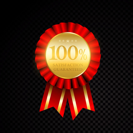 Vector 100 percent satisfaction guarantee golden labels on black background