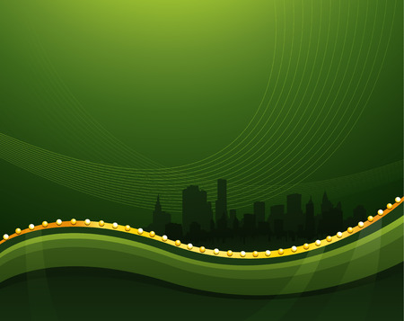 Abstract green waving background with cityscape silhouette Illusztráció