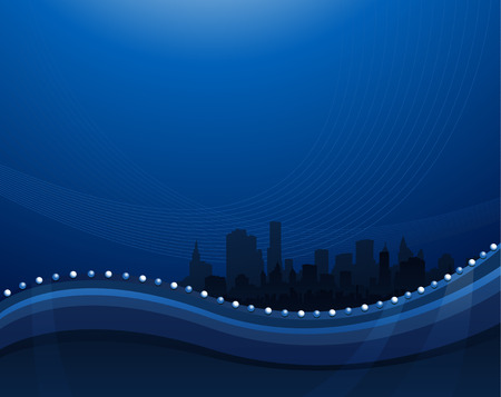 Abstract blue waving background with cityscape silhouette