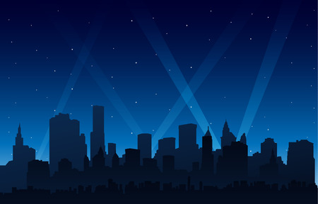 Silhouette party city at night background with cityscape