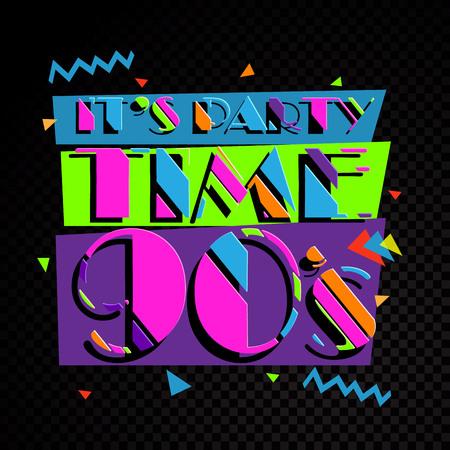 Party time L'étiquette de style années 90. Illustration vectorielle. Vecteurs