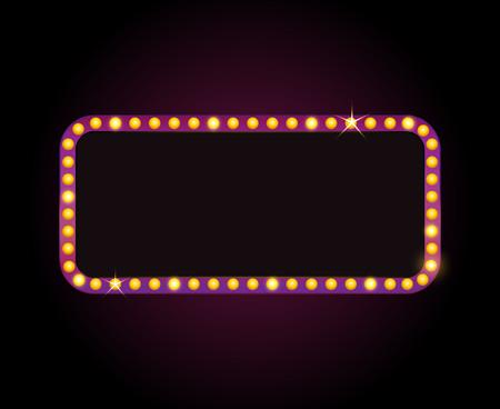 Brightly theater glowing retro cinema neon sign Illusztráció