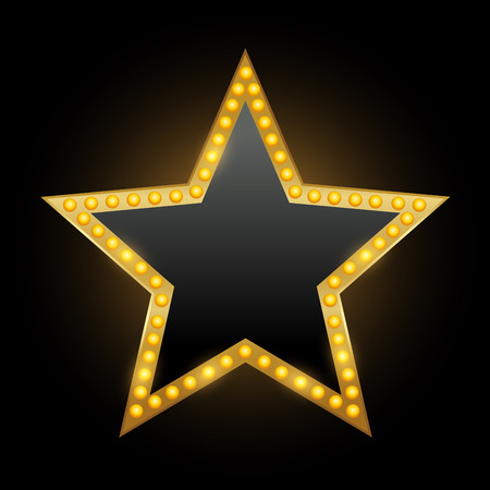 Helles Sternentheater, das Retro-Kino-Leuchtreklame glüht