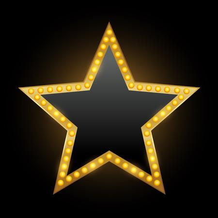 Jaskrawo gwiazdowy teatr świecący retro neonowy znak kinowy