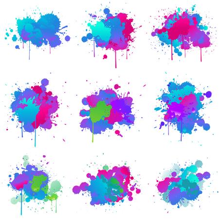 ensemble de collection de couleurs splash de peinture fluo Vecteurs
