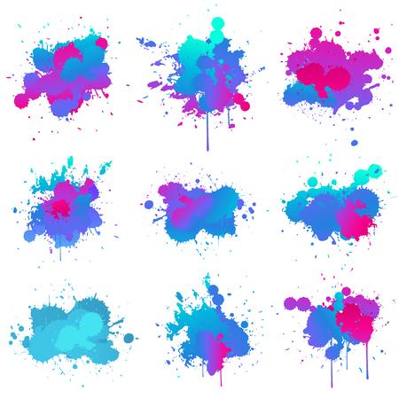 ensemble de collection de couleurs splash de peinture fluo