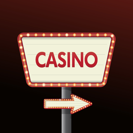 Golden casino banner sign with background city