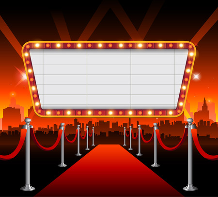 Hollywood city red carpet background Illustration