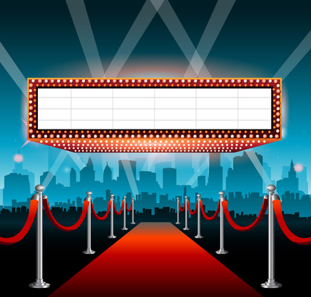 Hollywood movie red carpet background and city Stock Vector - 123269109