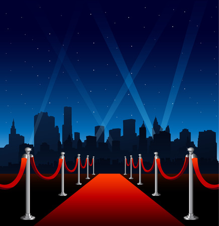 Red carpet hollywood big city event background Ilustração