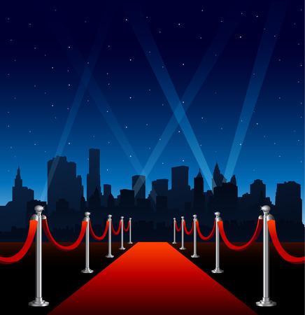 Rode loper hollywood grote stad evenement achtergrond Vector Illustratie