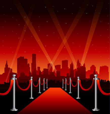 Red carpet hollywood big city event background  イラスト・ベクター素材