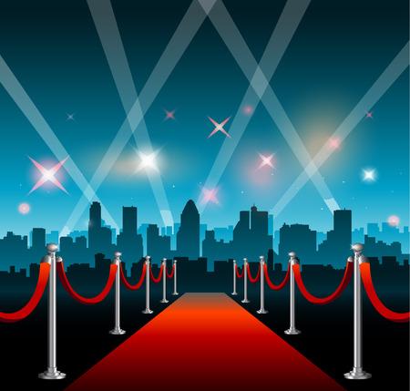 Red carpet hollywood big city event background Ilustracja