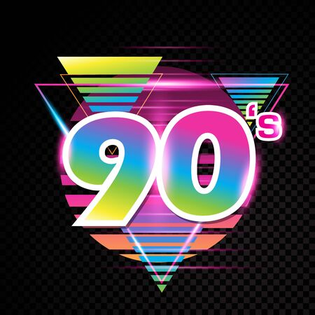 90s style abstract label graphic design vector illustration
