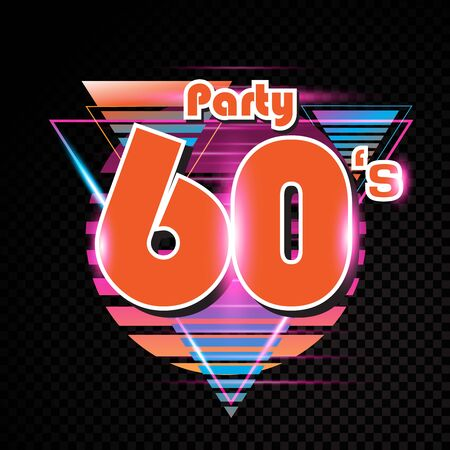 Party time The 60s style label. Vector illustration.