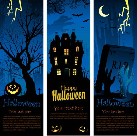 Vertical blue Halloween background with creepy tree Ilustração